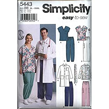 Simplicity Sewing Pattern 5443 Misses/' /& Men/'s and Plus Size Scrubs