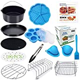 Eco Moda 7 inch Air Fryer Accessories 12 pcs with Recipe Cookbook Compatible with Ninja Foodi 5&6.5qt (OP101,OP301,OP302,OP401,FD401) and Growise Cosori Ninja and Philips Fit all 3.7QT - 4.2QT