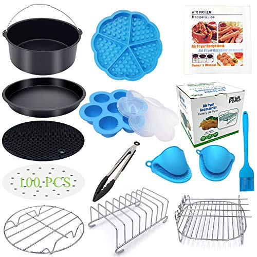 Eco Moda 7 inch Air Fryer Accessories 12 pcs with Recipe Cookbook Compatible with Ninja Foodi 3&5qt (OP101,OP301) and Growise Cosori Ninja and Philips Fit all 3.7QT - 4.2QT