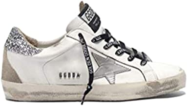 Golden Goose Deluxe Brand Superstar Women Sneakers with Silver Heel Tab with Glitter and Metal Stud Lettering G35WS590.R55