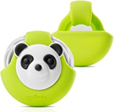 Earbuds Holder Earphones Cord Wrap Case, Bone Collection Soft Touch Silicone Headsets Winder Tangle-Free Cable Management Portable Organizer Cute Cartoon Design, Cord Pocket Series - Panda/Green