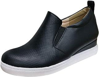Minetom Femmes Casual Compensé Chaussures Fermeture Éclair Suède Baskets Plateforme Antidérapant Mocassins Imprimé Léopar...