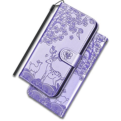 ONETHEFUL Xiaomi Poco X3 NFC/Pro Funda Cartera Carcasa Flip Cover Libro Case Fundas Venado Sika Protectoras de Piel Sintética para el Teléfono Xiaomi Poco X3 NFC/Pro Púrpura