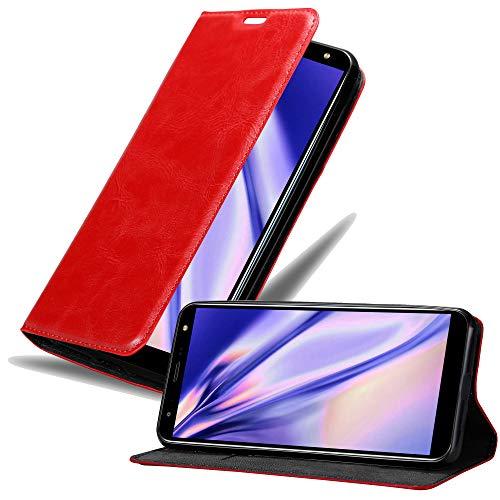 Cadorabo Hülle für LG K40 in Apfel ROT - Handyhülle mit Magnetverschluss, Standfunktion & Kartenfach - Hülle Cover Schutzhülle Etui Tasche Book Klapp Style
