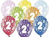 Partydeco - Globo de 2º cumpleaños, juego de colores surtidos