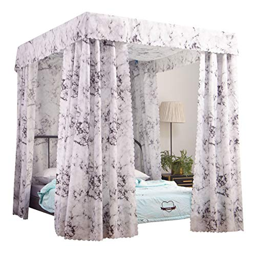 Mengersi Simple Marble Four Corner Post Bed Curtain Canopy for Boys Kids Girls Gift (Queen, White Marble)