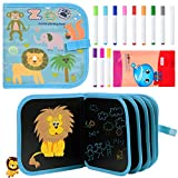 Diealles Shine Tabla de Dibujo Portátil para Niños(14 páginas), Tablero de Dibujo de Graffiti, Libros Blandos de Pizarra Reutilizable Borrable con 12 Plumas de Colores (Animal)