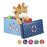 Relaxdays Baúl para juguetes, Taburete infantil, Plegable, Para niños y niñas, Bajo el mar