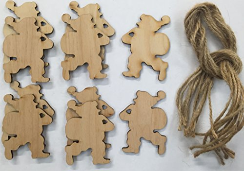 Wooden Santa Claus Gift Tags Xmas Decorations Pack of 10 Shapes - 3 Sizes to choose from (7cm)
