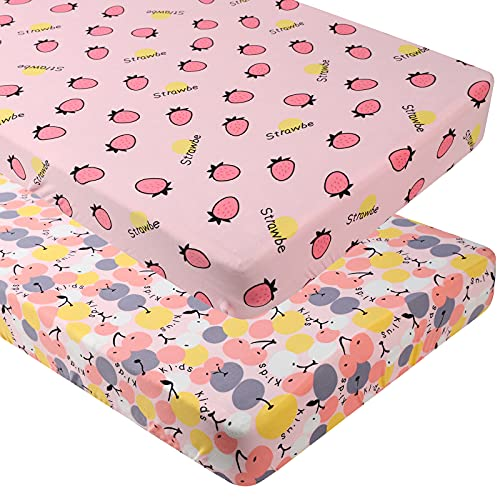 Crib Sheets for Girl 2 Pack Set Soft Stretchy Jersey Knit Fitted Sheets for Standard Crib and Toddler Bed, Pink Cherry Strawberry