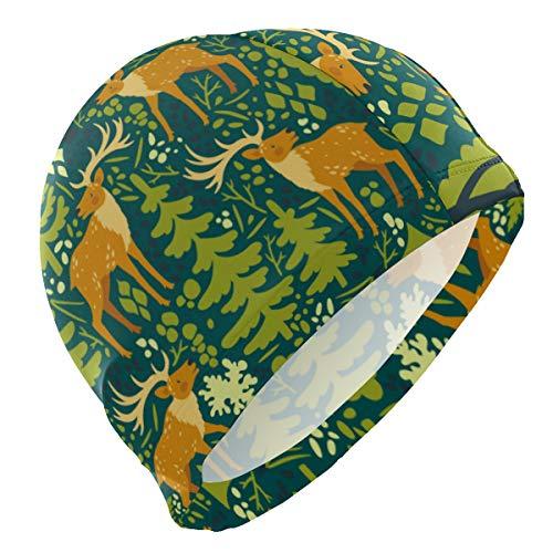 PINLLG Bonnet de bain mignon animal cerf renne arbre de natation pour homme, garçon, adulte, adolescent, chapeau de natation antidérapant