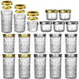 Tebery 18 Pack Glass Mason Jars Canning Jars Sizes 12oz & 8oz & 4oz Jelly Jars With Regular Lids for Jam, Honey, Wedding Favors, Shower Favors, Baby Foods