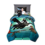 Franco Kids Bedding Soft Comforter with Sheets and Cuddle Pillow Bedroom Set, 5 Piece Twin Size, How to Train Your Dragon