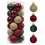 Valery Madelyn 24ct 40mm Traditional Green Red and Gold Basic Christmas Ball Ornaments, Shatterproof Xmas Balls for Christmas Tree Decoration, Themed with Tree Skirt (Not Included)