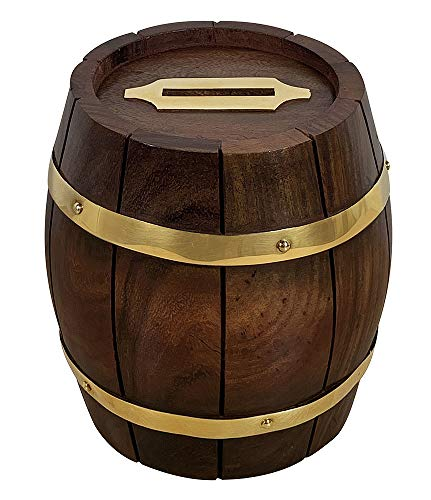 zeitzone Spardose Holzfaß Fässchen Holz mit Messingbeschlägen Sparbüchse Maritim 11cm