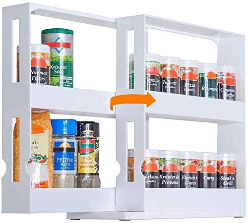 CWT Estante para cubiertos para especias, soporte extensible para tarros giratorio, estante de almacenamiento de condimentos, organizador para especias y condimentos, estante de cocina