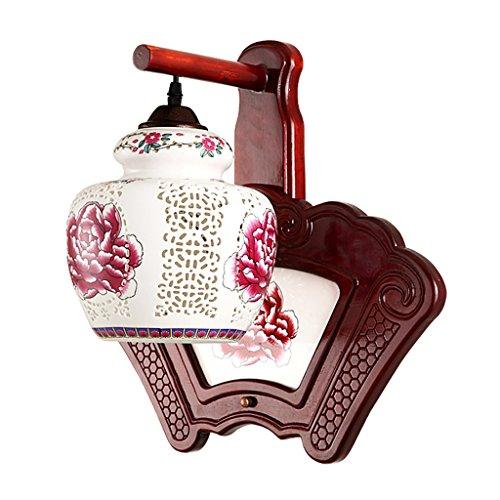ZWL Céramique Lampes de l'allée Antique Solid Wood Living Room Étude Décoration murale Retro Hall Corridor Lighting Single Head E27, 40 * 44CM mode (Couleur : #1)