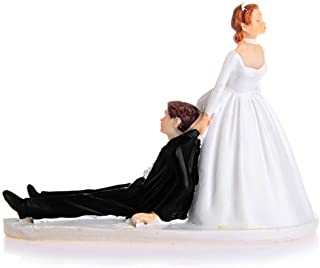 LinTimes Love Runaway Groom Wedding Cake Funny Couple Topper Figurine Now I Have You Cake Resin Decoration