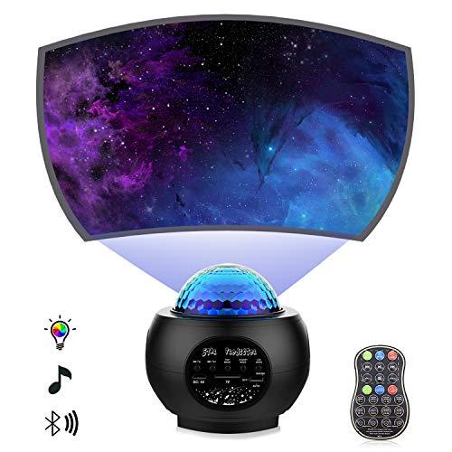 Proyector de estrellas de luz nocturna con proyector Galaxy Ocean Wave Altavoz de música Bluetooth para dormitorio de bebé, salas de juegos, fiesta, cine en casa, ambiente de luz nocturna