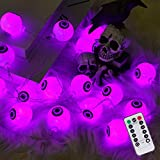 30 LED Halloween Eyeball String Lights, 8 Modes Fairy Lights with Remote, Waterproof Battery Operated Halloween Lights for Outdoor Indoor Party Christmas Halloween Decoration (Purple)