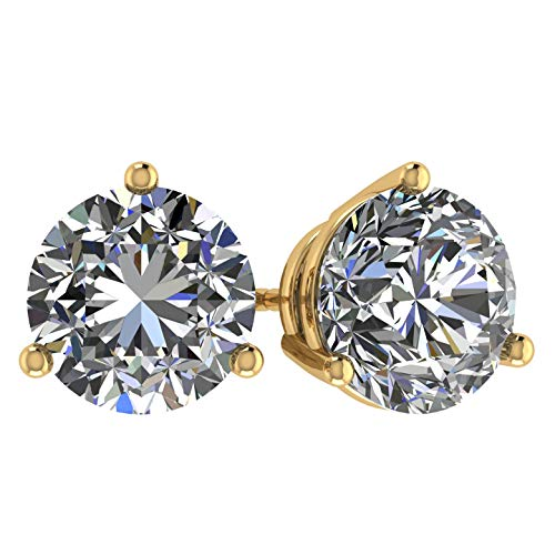 NANA 14k Gold Post & Sterling Silver 3 Prong CZ Stud Earrings -Yellow Gold Plated-7.5mm-3.00cttw