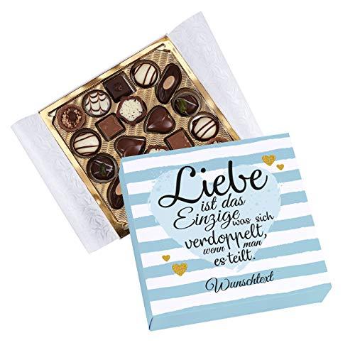 Herz & Heim® Lindt Mini-Pralinés für Verliebte mit Ihrer Widmung bedruckt zum Valentinstag oder Jahrestag