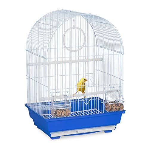 Relaxdays Vogelkäfig, Käfig Kanarienvögel & Zebrafinken, Sitzstangen, Schaukel, Futternäpfe, HBT 49,5x34,5x31 cm, blau
