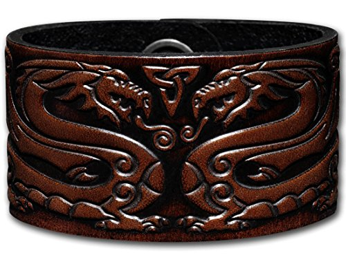 Hoppe & Masztalerz Lederarmband geprägt 40MM aus Vollrindleder Keltische Drachen (12) braun-antik mit Druckknopfverschluss (nickelfrei) (24 Zentimeter)