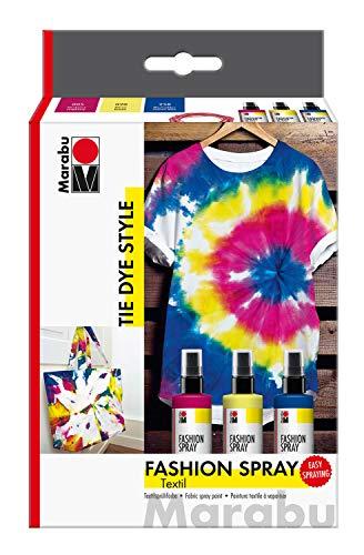 Marabu 1719000000094 - Fashion Spray, Tie Dye, Set Textilsprühfarbe auf Wasserbasis, für helle Textilien, einfache Fixierung, waschbeständig bis 40°C, 3 x 100 ml in himbeere, zitron und marineblau
