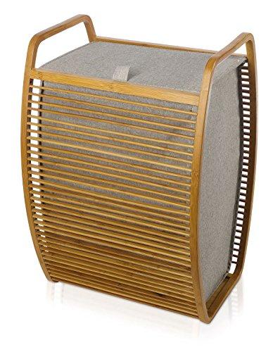 Möve 40905 bambusowy kosz na pranie 40 x 35,5 x 60 cm z bambusa z płótnem, szary