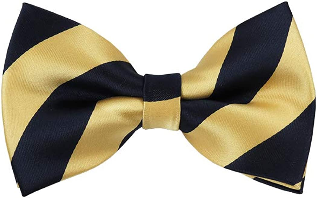 Navy Blue and Honey Gold College Stripe Pre-Tied Bow Tie