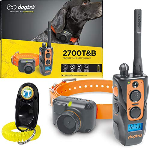 Dogtra 2700 T&B 1-Dog Remote Training and Beeper Collar - 1 Mile Range, Fully Waterproof, Rechargeable, Static, Vibration - Includes PetsTEK Dog Training Clicker