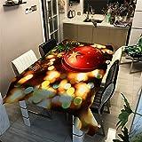 Hiser Mantel Antimanchas Rectangular para Mesa de Cocina o Salón, 3D Poliéster Impermeable Lavable Diseño Decoración Hogar Calor y Humedad Resistencia (Bolas de Navidad,90x90cm)