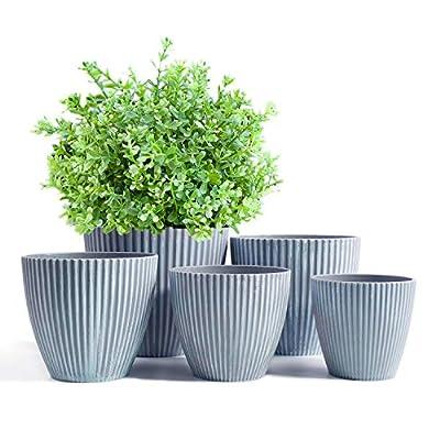 HOMENOTE Plastic Pots for Plants, 7.4/6.7/5.6/5.3/4.5 Inch Plastic Planters Set of 5, Modern Decorative Plant Pots Indoor with Drainage Plug for House Plants, Succulents, Flowers, Grey