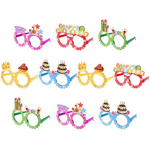 Toyvian Occhiali da Vista Happy Birthday Glasses 10 Pack Kids novità Occhiali da Vista Cornici Articoli per Feste di Compleanno Photo Booth Prop Regali per Feste di Festa