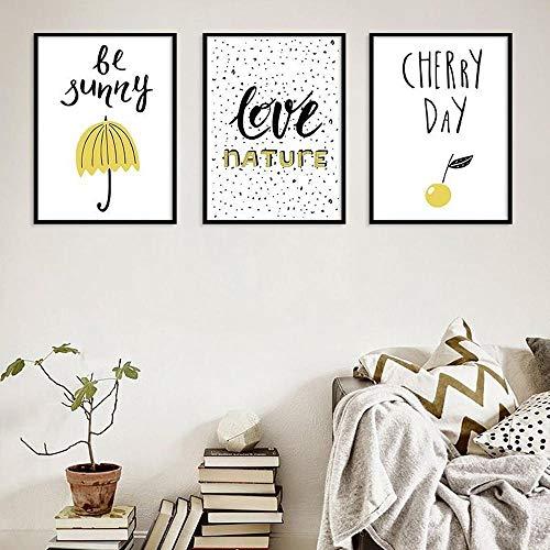 Liefde Natuur Kleine Vers Canvas Schilderij, Wees Grappige Paraplu Kersen Dag Muur Kunst Foto's Woonkamer Slaapkamer Eenvoudige Decor Posters 50x70cmx3 geen Frame