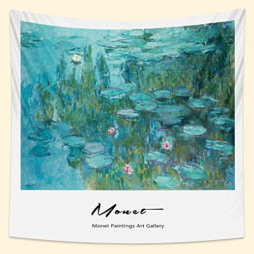 KHKJ Francés Monet nenúfar Pintura al óleo hogar Arte Tapiz Bohemio Decorativo Estera de Yoga sofá Manta sábana de Cama A1 200x150cm