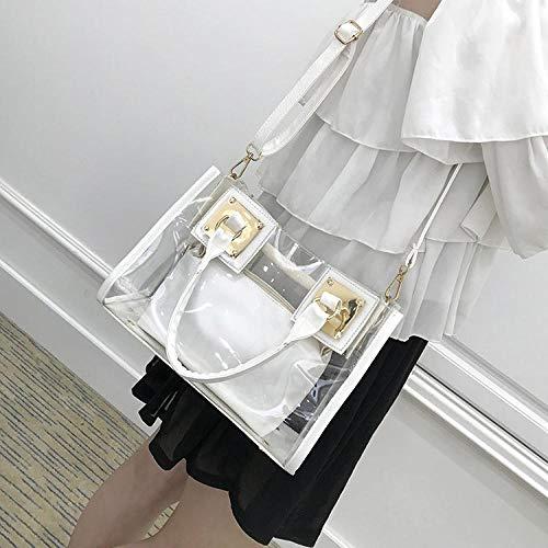 Tasche Tragbare Weibliche Strandtasche Schulter Bote Mutter Und Kind Transparente Gelee Handtasche Weibliche Tasche Weibliche Tasche M Weiß