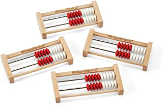 hand2mind 20-Bead Wood Mini Rekenrek, (Ages 4-7), Develop Number Concepts & Basic Facts Up to Ten with Math Counting Frames (Pack of 4)