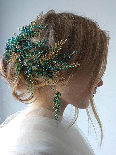 Kristallbesetzter Haarreif von FXmimior, mit Vintage-Optik für Hochzeiten, Diadem mit maßgeschneidertem Blumenkranz für Abendpartys, Hochzeits-Kopfschmuck