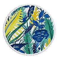 夏 ビーチタオル テーブルクロスヨガマットショールレジャーピクニックマット自由奔放に生きる熱帯植物柄ラウンドポリエステルビーチスロータオルタペストリー 水着の上に着る 海辺旅行 (色 : 3#, Size : 59 inch)