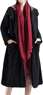 Womens Jacket Winter Warm Hooded Button Long Sleeve Knee Down Coat Overcoat Trench Jacket