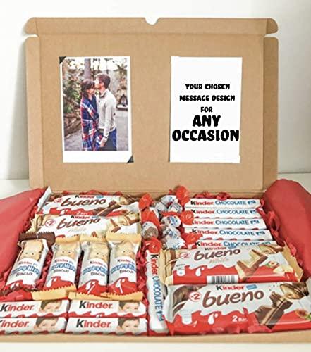 Cesta de chocolate Kinder personalizable, mensaje y foto, caja de regalo de aniversario de cumpleaños, novio, novia