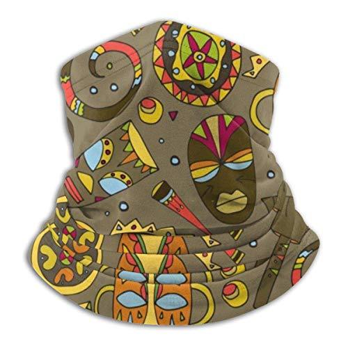 Máscaras africanas y símbolos étnicos Vector Fondo Transparente. Textil Vector Diseño Cuello Calentador Bufanda Invierno
