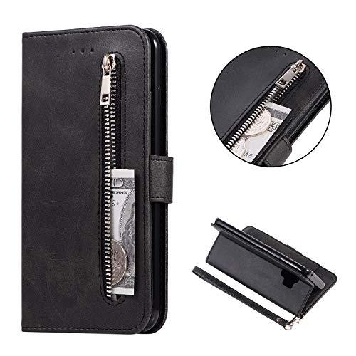 FNBK Kompatibel mit Hülle Samsung Galaxy S9 Handyhülle Leder Reißverschluss Handschlaufe Brieftasche Etui Flip Case 5 Card Slots Klapphülle Wallet Tasche Stand Magnet Schutzhülle,Schwarz