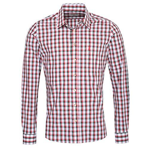 Almsach Trachtenhemd Otto Slim Fit zweifarbig in Rot und Dunkelgrün inklusive Volksfestfinder, Größe:S, Farbe:Mehrfarbig