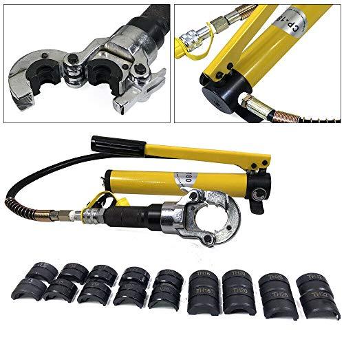 Alicates de presión hidráulica de 6T, forma en V, 12-28 mm, forma en T, 16-32 mm, mordazas de presión hidráulicas, 360°, para tubos de aluminio, tubos PEX, tubos PB.