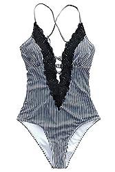 powerful CUPSHE Women Wish You All The Best Lace One Piece Swimwear Beach Swimwear Swimwear Swimwear (M) Black White