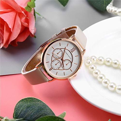 KUIDAMOS Women's Leather Strap Watch, Adjustable Band Women Watch for Lady Girls Dress Casual(Rose gold frame beige)