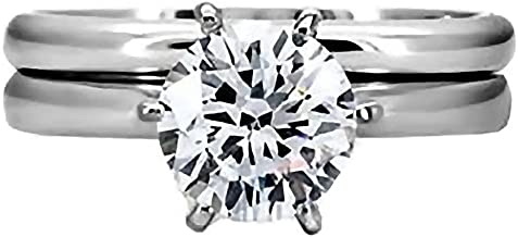 1000 Jewels Trustmark Steel 1.25ct Brilliant-Cut Ice on Fire CZ 2 pc Bridal Wedding Ring Set, Bella 3144